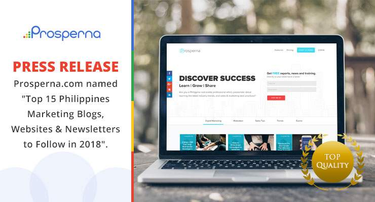 """Press Release – Prosperna.com named """"Top 15 Philippines Marketing Blogs, Websites & Newsletters to Follow in 2018"""""""