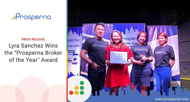 "Lyra Sanchez Wins the ""Prosperna Broker of the Year"" Award"
